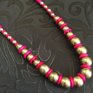 Jewelry - Vintage Gold Ball Necklace with Fuchsia Beads
